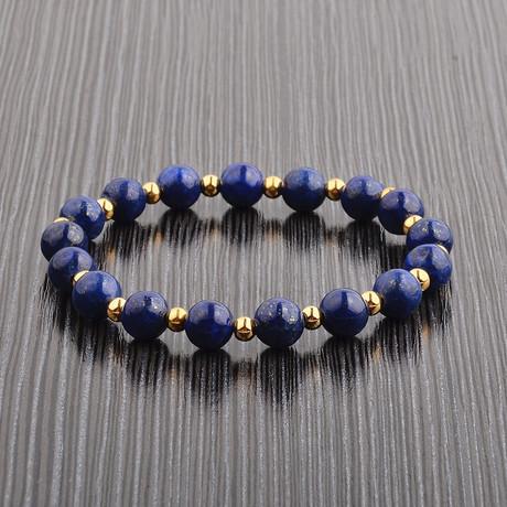 Gold IP Steel Alternating Beaded Bracelet // Lapis Lazuli