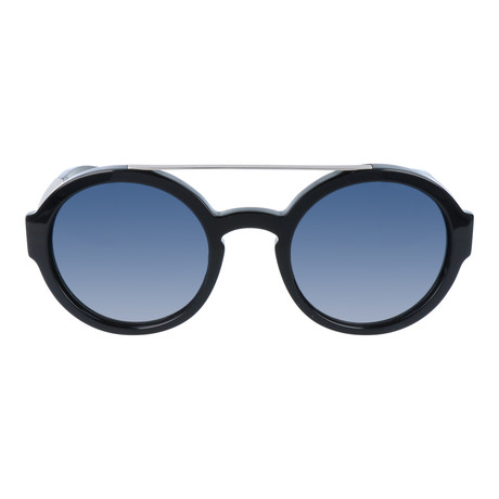 Top Bar Thick Circle Sunglasses // Black + Silver