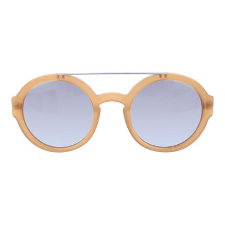 Top Bar Thick Circle Sunglasses // Matte Tan + Silver