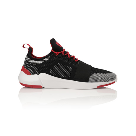 Ceroni Low-Top Sneaker // Black + White + Red