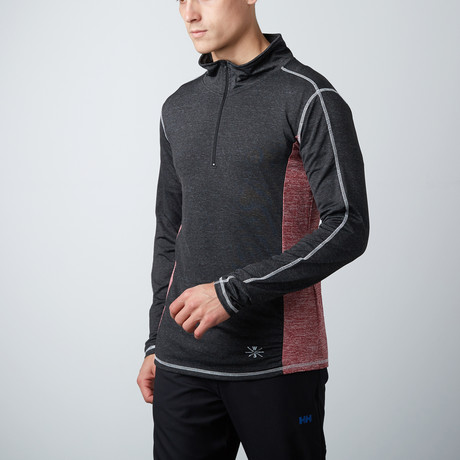 Hook Fitness Tech Pullover // Black + Red