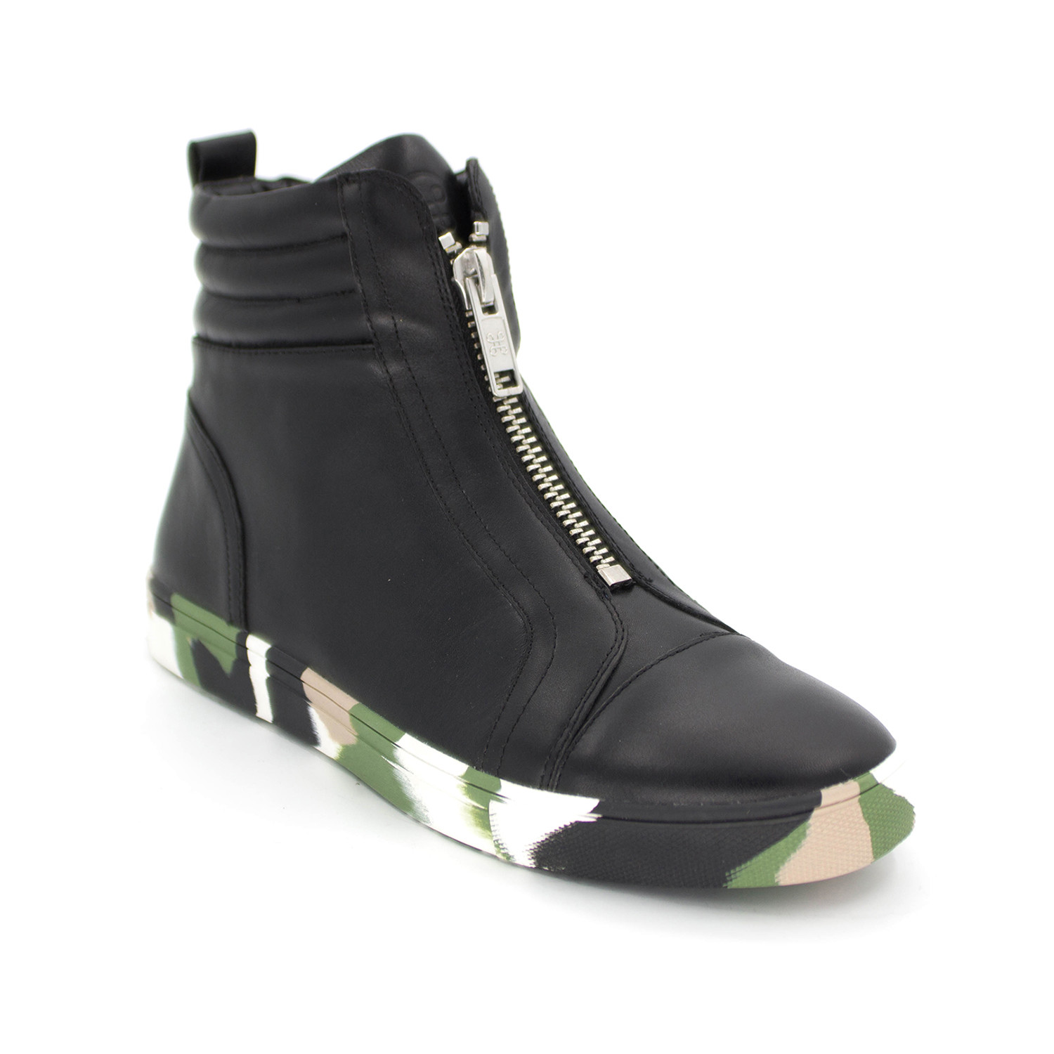 HIP AND BONE Leather Camo Zip Flyer High Top Sneaker MKTQrB3a6Z