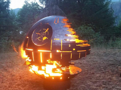 Photo of West Coast Firepits Made To Order Steel Firepits Death Star (Black Ceramic Coating) by Touch Of Modern