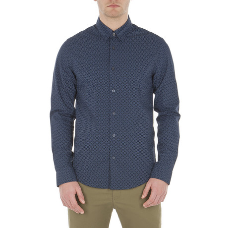 Long Sleeve Optic Chequerboard Shirt // Navy Blazer