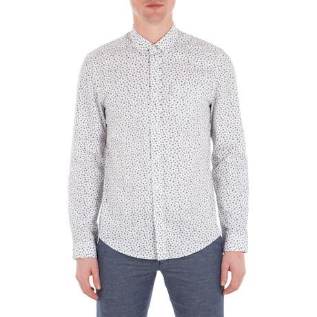 Long Sleeve Geo Print Shirt // Bright White