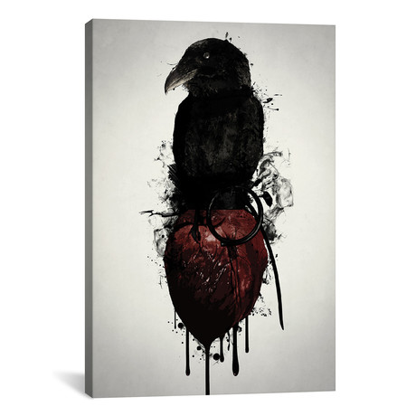 """Raven And Heart Grenade (26""""W x 18""""H x 0.75""""D)"""