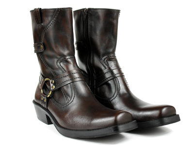 Touch Of Modern - MK Karelus Luxury Leather Boots Motorcycle Boot // Dark Brown (US: 6.5) Photo