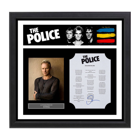 Framed Autographed Lyric Collage // The Police