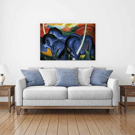 "The Large Blue Horses (Die grossen blauen Pferde) // Franz Marc // 1911 (18""W x 26""H x 0.75""D)"
