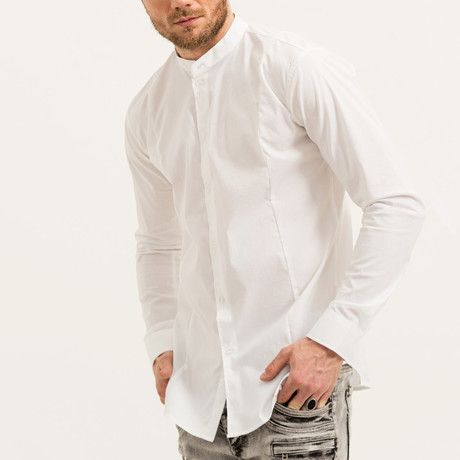 Aaron Mandarin Collar Button-Up Shirt // White (S)