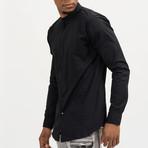Aaron Mandarin Collar Button-Up Shirt // Black (S)
