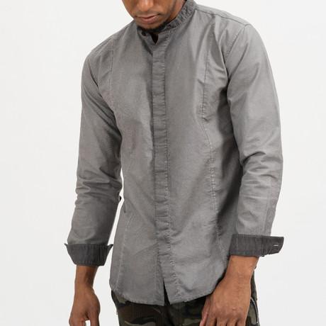 Dave Mandarin Collar Button-Up Shirt // Grey (S)