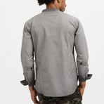 Dave Mandarin Collar Button-Up Shirt // Grey (S)