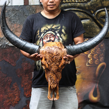 Hand Carved Buffalo Skull // Antique Dragon Fight