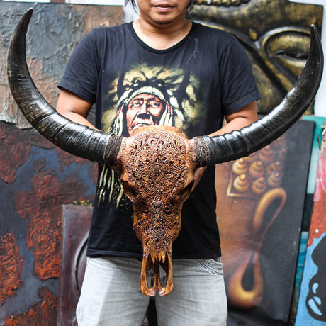 Hand Carved Buffalo Skull // Antique Flower