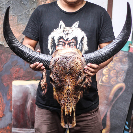 Hand Carved Buffalo Skull // Antique Heart
