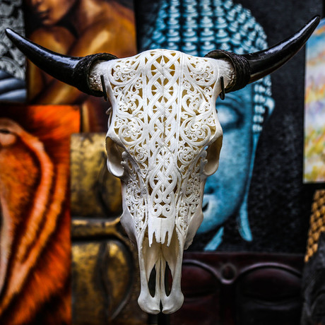 Hand Carved Cow Skull // Celtic 2