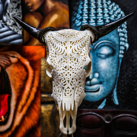Hand Carved Cow Skull // Tribal 1