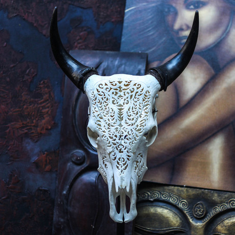 Hand Carved Cow Skull // Tribal 2