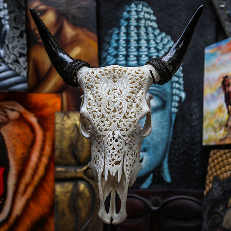 Hand Carved Cow Skull // Tribal 5