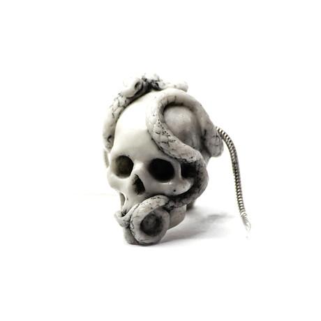 Skull + Snake Pendant // White + Silver