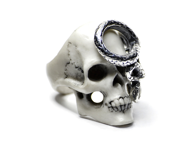 Touch Of Modern - Macabre Gadgets Jewelry from the Dark Side Skull + Snake Ring // White (Size 5) Photo