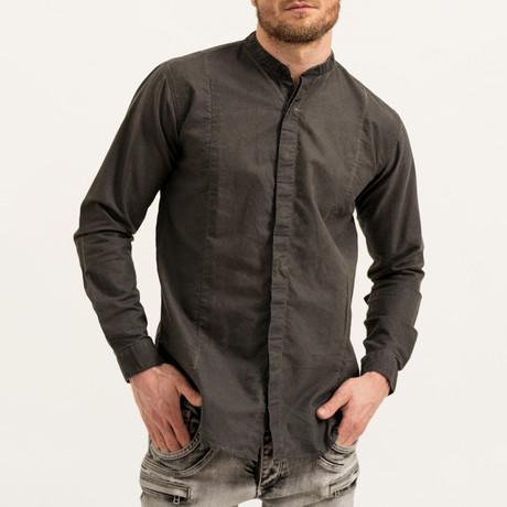 Dave Mandarin Collar Button-Up Shirt // Black (S)