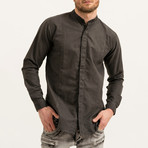 Dave Mandarin Collar Button-Up Shirt // Black (S)