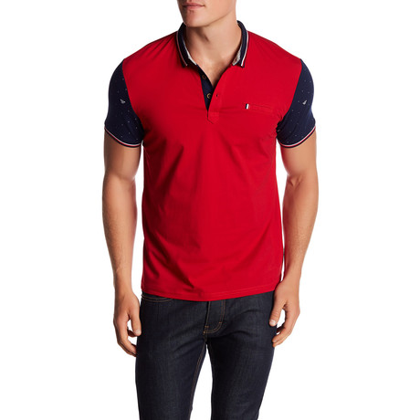 Contrast-Sleeve Polo // Red