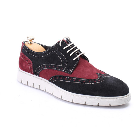 Suede Full Brogue Wingtip Sneaker // Black + Bordeaux