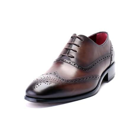 Antique Finish Perforated Wingtip Oxford // Antique Brown