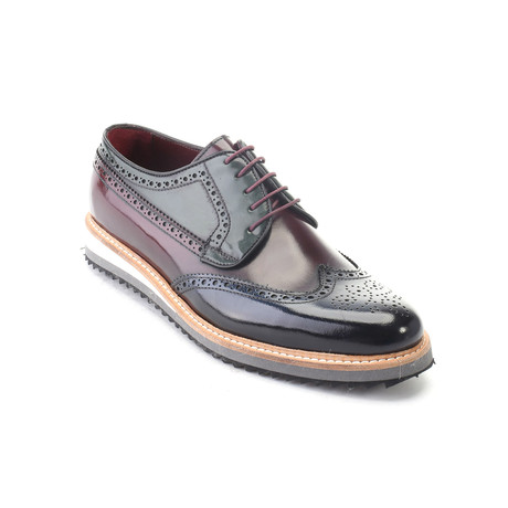 Patent Colorblocked Wingtip Derby // Bordeaux (Euro: 39)