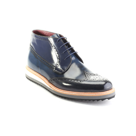Antique Texture Colorblocked Wingtip Oxford // Dark Blue