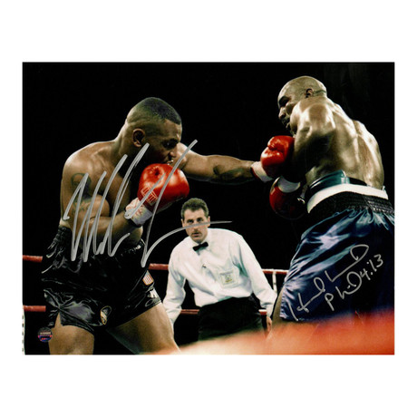 Mike Tyson + Evander Holyfield Dual Signed Framed Photo