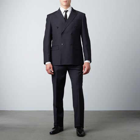 Classic Fit Double Breasted 2-Piece Suit // Charcoal