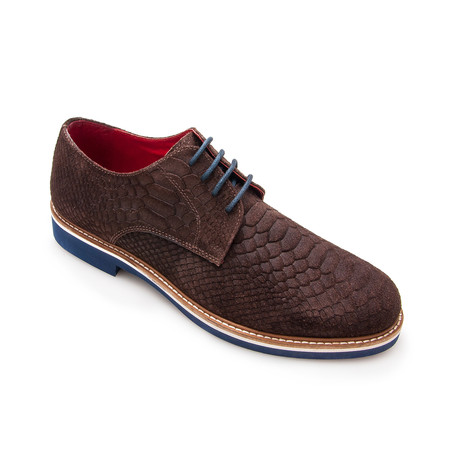 Snake Embossed Belted Leather Blucher // Brown