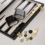 New School Backgammon Set (Blue Ostrich)