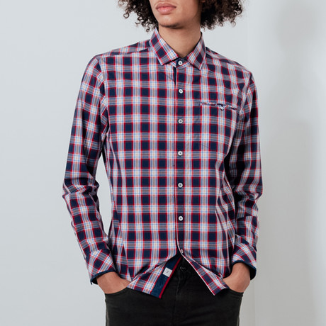 Play By Play Button-Up Shirt // Navy + Red