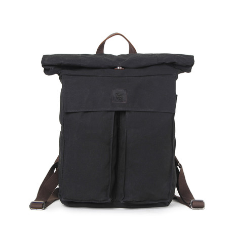 Eden Rolltop Weekender Backpack // Black