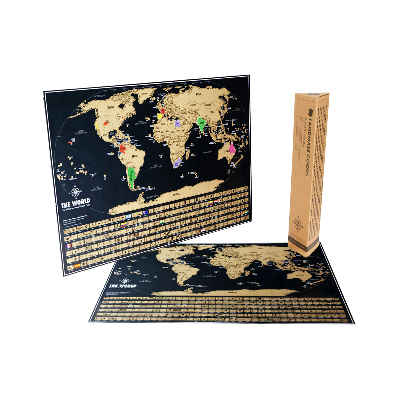 Travel tracker map black landmass goods touch of modern travel tracker map black gumiabroncs Gallery