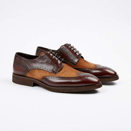 Suede Medallion Wing-Tip Derby // Brown + Tan (US: 7)