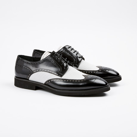 Medallion Wing-Tip Derby // Black + White (US: 7)