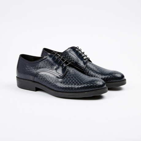 Textured Plain Toe Derby // Navy (US: 7)