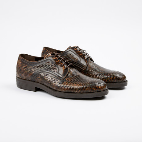 Textured Plain Toe Derby // Brown (US: 7)