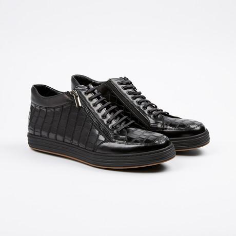 Side Zip Mid-Top Sneaker // Black