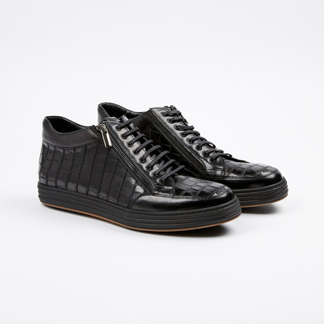 Side Zip Mid-Top Sneaker // Black (US: 7)