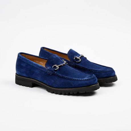 Suede Apron Toe Lug Loafer // Navy (US: 7)
