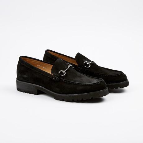 Suede Apron Toe Lug Loafer // Black