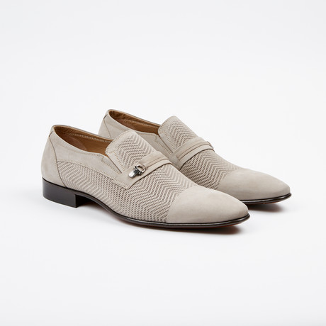 Nubuck Perforated Cap-Toe Loafer // Taupe (US: 7)