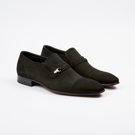 Nubuck Perforated Cap-Toe Loafer // Black (US: 7)